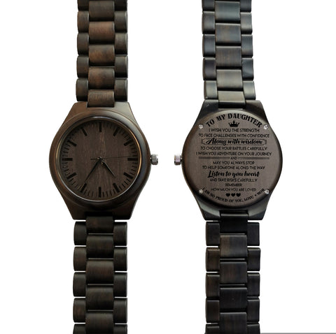 To My Daughter Listen To Your Heart Love Mom Black Wooden Watch