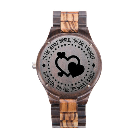Mommy You Are The Whole World Black & Yellow Wooden Watch