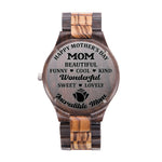 Happy Mother's Day Incredible Mom Black & Yellow Wooden Watch