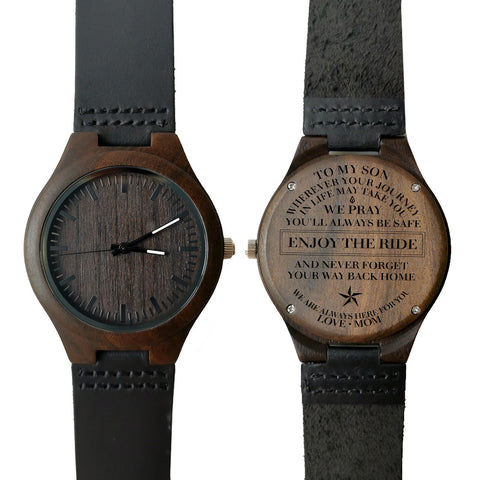 To My Son Enjoy The Ride Love Mom Leather Wooden Watch