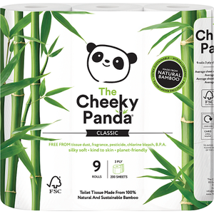 The Cheeky Panda Luxury 3 Ply Toilet Tissue 9 Rolls