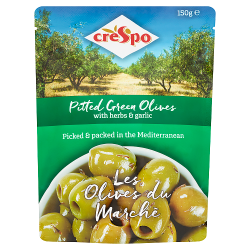 Crespo Pitted Green Olives with Herbs and Garlic 150g
