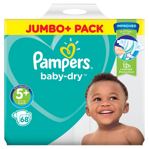 Pampers Baby-Dry Size 5+, 68 Nappies, 12-17kg, Jumbo+ Pack
