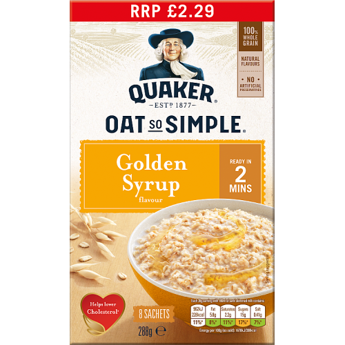 Quaker Oat So Simple Golden Syrup Porridge 8x36g