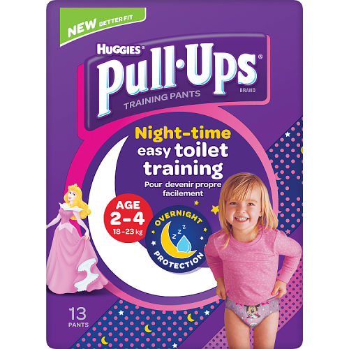 Huggies Pull Ups Night Time Potty Training Pants Girls 2-4 Years 13 Pants