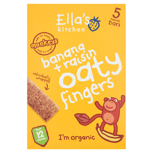 Ella's Kitchen Organic Banana and Raisin Oaty Fingers Bars Multipack Snack 12+ Months 5 x25g