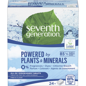 Seventh Generation Free & Clear All-in-1 Dishwasher Tablets 24 ct