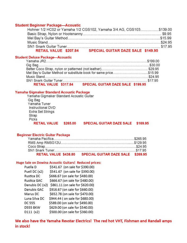 Guitar specials and packages