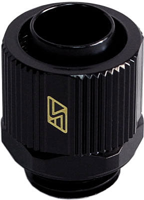 "3/8 x 1/2"" Lok-Seal Compression Fitting (Black) - Sidewinder Computers"