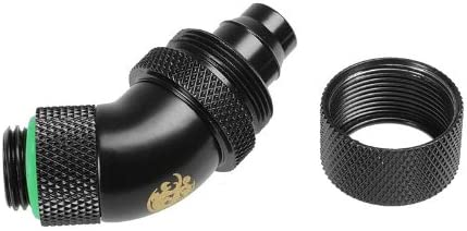 "Matte Black Dual Rotary 45-Degree Compression Fitting CC3 For 3/8"" ID 5/8"" OD - Sidewinder Computers"