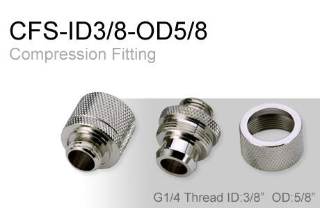 Shiny Silver Compression Fitting for 3/8in. x 5/8in. Tubing (CFS-ID38-OD58)