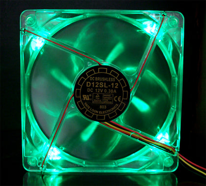 120x25mm D12SL-12 Green LED Case Fan - 38.5 CFM, 25.4 dBA - Sidewinder Computers