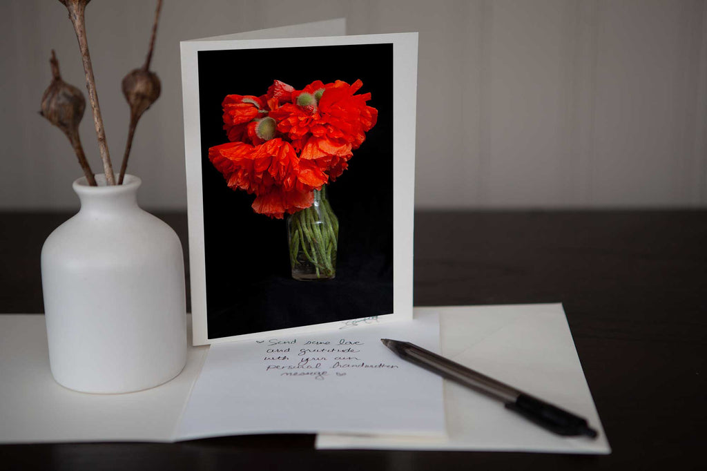 Photo Greeting Card of Poppies in a Vase is Perfect for the Poppy Lover