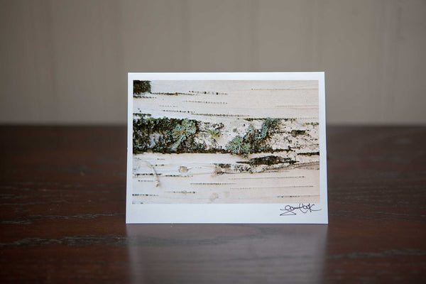 Photo Greeting card featuring 'Birch' a close up photograph of white birch with green lichen photo by Cambridge Ontario Photographer Laura Cook of Vision Photography