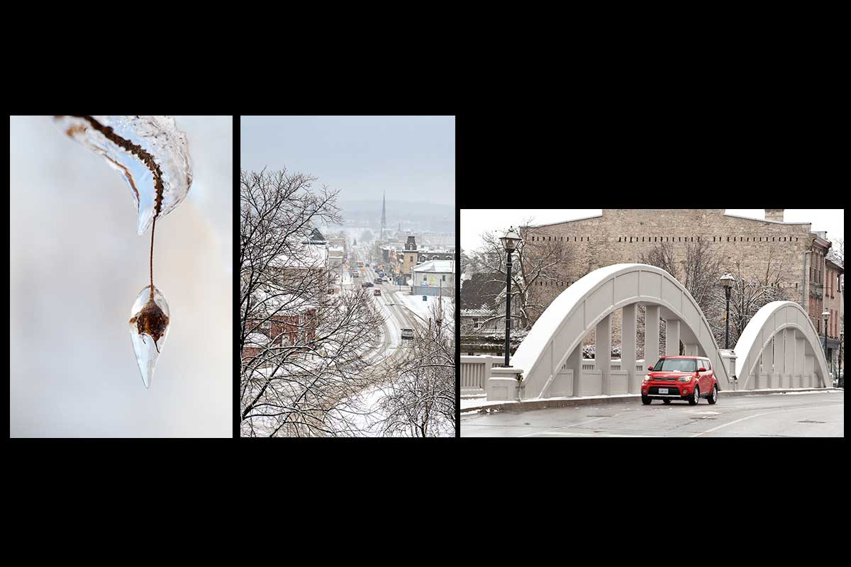 Winter photographs in a set of handmade photo greeting cards for Christmas featuring three beautiful photographs of frozen nature form the ice storm, a view of main street Cambridge  on a snowy's winter day and a view of main street bridge with a red Kia diving over it in on a wintery day  Photo by Cambridge Ontario Photographer Laura Cook of Vision Photography