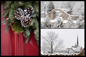 Greeting Card set featuring local Galt Cambridge scenes in the winter, Central Presbyterian, Millrace and Pinecones Photos by Cambridge Ontario Photographer Laura Cook of Vision Photography