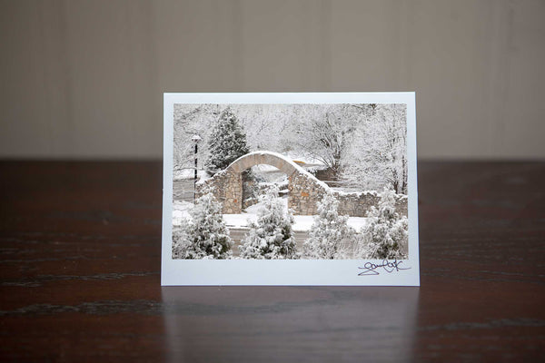 "Greeting card featuring ""Frosted Arches"" a photo of Millrace park arches with a heavy snowfall, beautiful Photo by Cambridge Ontario Photographer Laura Cook of Vision Photography"