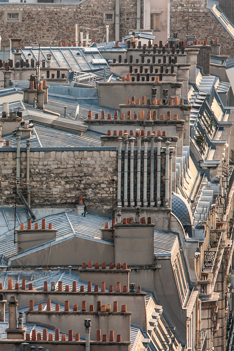 art print of Paris chimneys ariel view