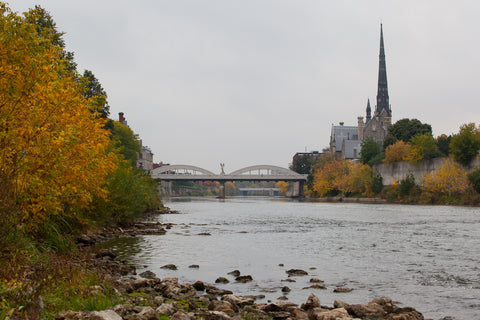 Beautiful Grand River Flowing Through Galt Cambridge on a Fall Day Photo by Cambridge Ontario Photographer Laura Cook of Vision Photography