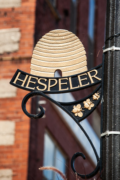 Hespeler Village, a beehive of activity since 1859, photog of the iconic street sign in Hespeler Cambridge by Laura Cook, local Cambridge Photographer of Vision Photography