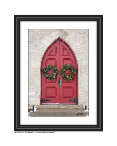 Red Door with Christmas Wreaths in snowfall Photo by Cambridge Ontario Photographer Laura Cook of Vision Photography
