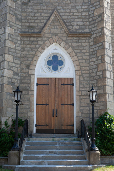 Photo of The Historic Entrance to St.Peter's Lutheran Church in Preston , Cambridge Photo by Cambridge Ontario Photographer Laura Cook of Vision Photography