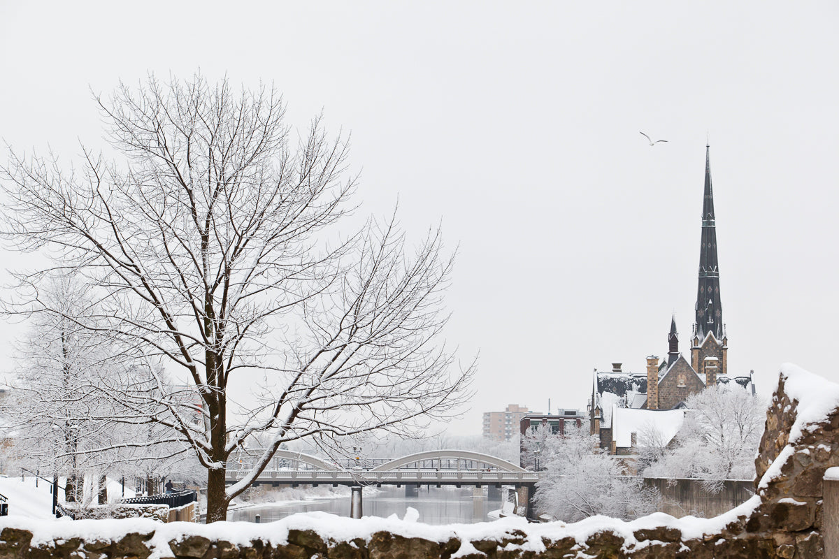 Beautiful Scene of Downtown Galt in the Winter Photo by Cambridge Ontario Photographer Laura Cook of Vision Photography