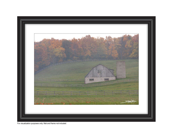 Photo of a Misty Barn set in the rolling hills and fall leaves in the background A uniquely rich photograph of fallen autumn maple leaves on a tree stump on the fall forest floor Photo by Cambridge Ontario Photographer Laura Cook of Vision Photography
