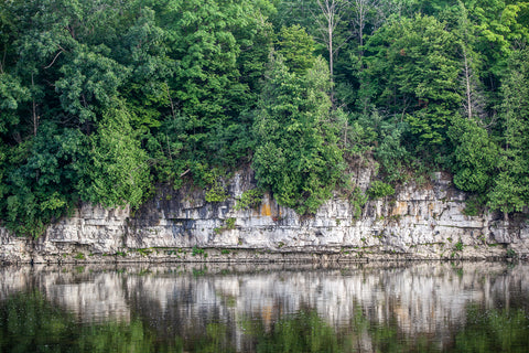 view of river bluffs along the grand river view of Preston's linear trail photograph by cambridge ontario photographer laura cook
