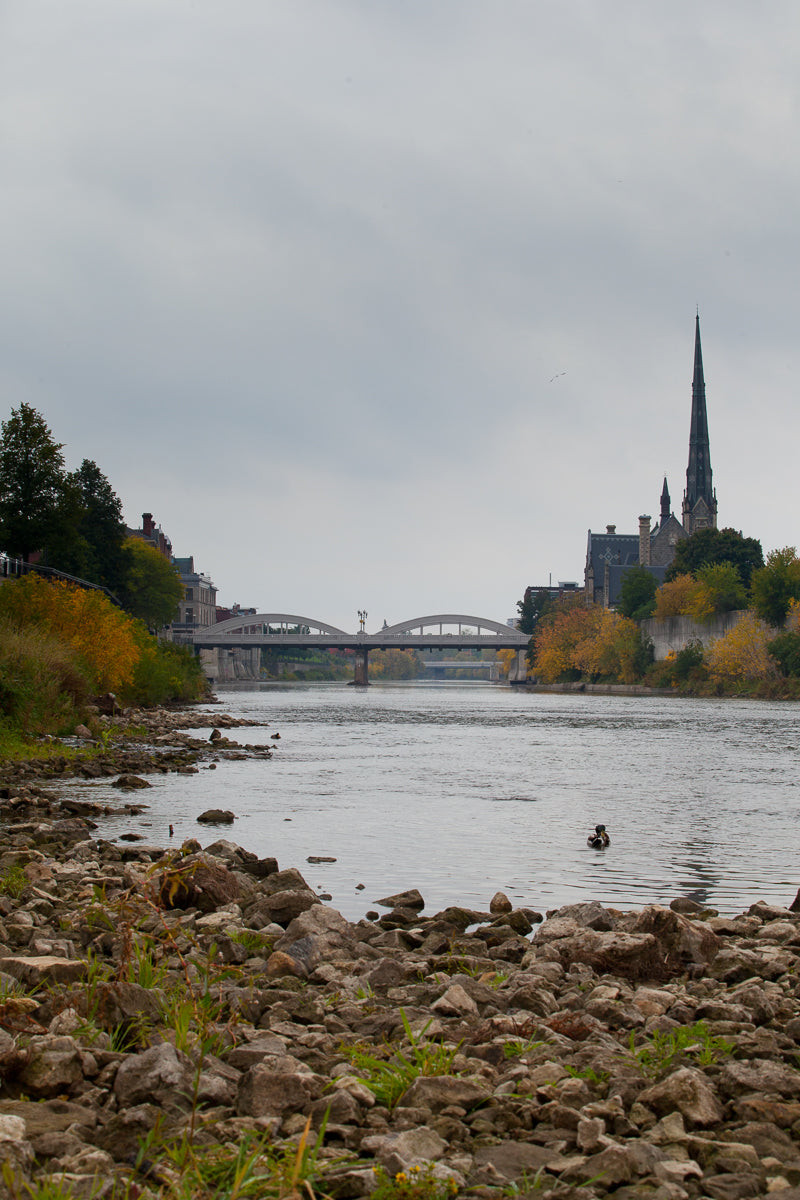 Grand River view of main street bridge and central presbyterian in the Fall Photo by Cambridge Ontario Photographer Laura Cook of Vision Photography