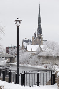 Photo of Central Presbyterian from Millrace Park in Cambridge in the winter Photo by Cambridge Ontario Photographer Laura Cook of Vision Photography