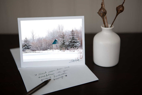 Photo greeting card featuring 'Silent Slumber' a photo of Cambridge Churchill Park Mill with snowy trees surrounding it the perfect winter scene for a holiday Christmas card  Photo by Cambridge Ontario Photographer Laura Cook of Vision Photography