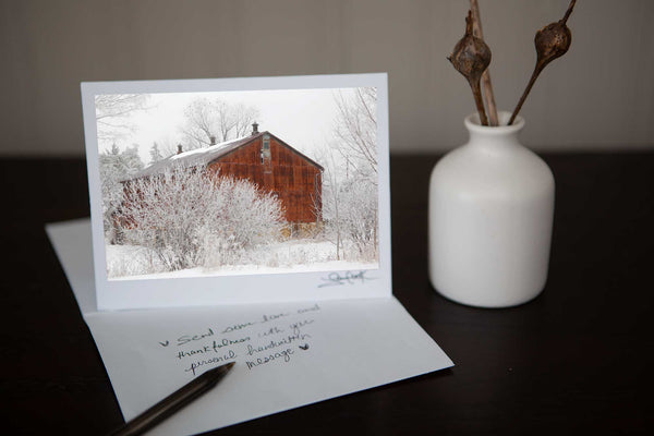 Christmas Greeting Card featuring 'Winter Barn' A photograph of a rusty winter ban set in  a snowy wintery scene Photo by Cambridge Ontario Photographer Laura Cook of Vision Photography