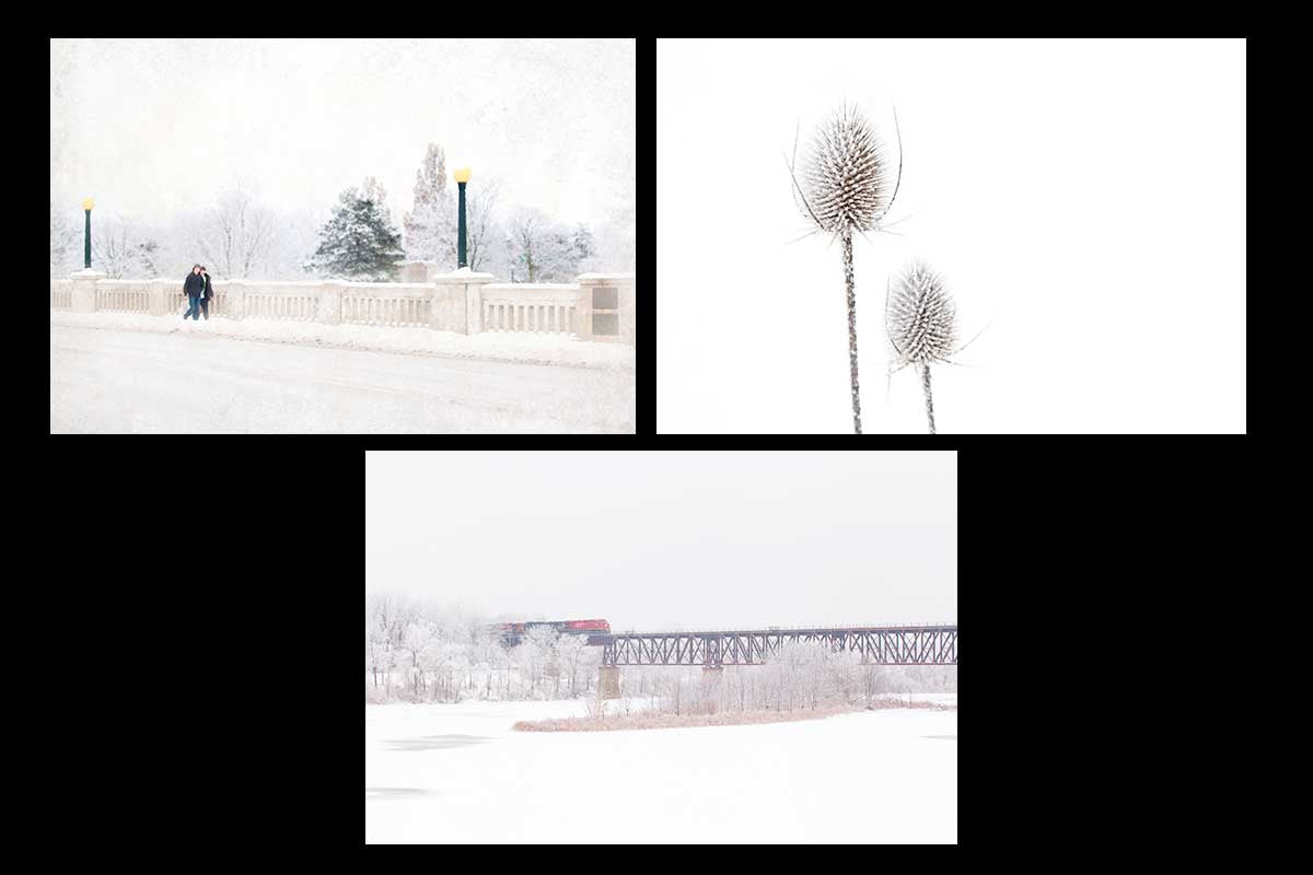 hand made Winter Christmas Card set makes the perfect greeting cards this holiday season. This set feature three wintery photos featuring boys walking across a snowy bridge, two frosted tease cones and a red CN train going across a train bridge elevated above the grand river in Cambridge Photo by Cambridge Ontario Photographer Laura Cook of Vision Photography