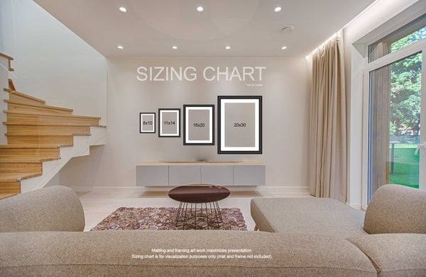 sizing chart for matted and framed photographs to visualize space they fill