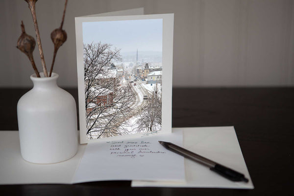 Greeting card featuring 'Winter on Main ' a photograph of main street Downtown Galt Cambridge in the winter, it is beautiful and makes a perfect greeting card Photo by Cambridge Ontario Photographer Laura Cook of Vision Photography