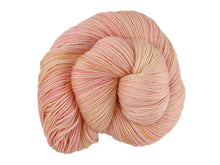 Load image into Gallery viewer, A close up of a semi-solid warm soft apricot with hints of golden yellow and red pink coloured skein of superwash bluefaced leicester, silk and cashmere 4ply fingering sock yarn presented as a spiral on a white background (Apricot Nectar on Blue Chip Stocking)