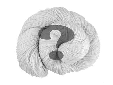 A black and white photo of a spiral of superwash merino, cashmere and nylon 4ply fingering sock yarn presented as a spiral on a white background. Superimposed on top is a transparent grey question mark (Undyed on Mother's Love)