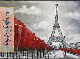 An impressionist painting in black, white and greys of an avenue leading to the Eiffel Tower on a background of a cloudy sky. The avenue is lined with red trees and street lamps with golden yellow globes. Up the left side is a watermark that says Angela Aderson Fine Art