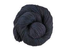 Load image into Gallery viewer, A close up of a variegated black with hints of fuchsia, kelly green and royal blue coloured skein of superwash bluefaced leicester, silk and cashmere 4ply fingering sock yarn presented as a spiral on a white background (Nevermore on Blue Chip Stocking)
