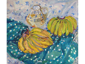 An impressionist still life painting of two bunches of bananas and a pitcher of water sitting on a white spotted teal green cloth draped across a blue spotted white tablecloth. Oil painting by Maya Kopitseva.