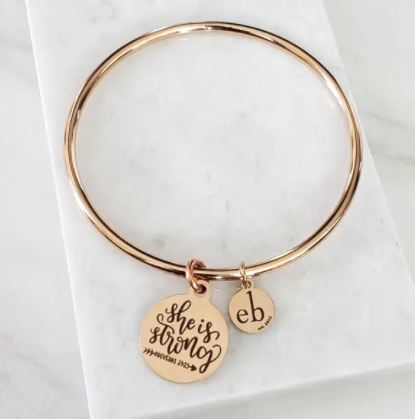 """She is Strong"" charm bracelet"