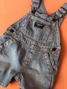 Oshkosh ticking baby shortalls