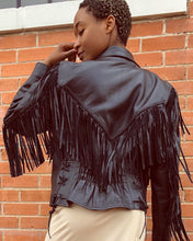 Load image into Gallery viewer, Black leather fringe jacket