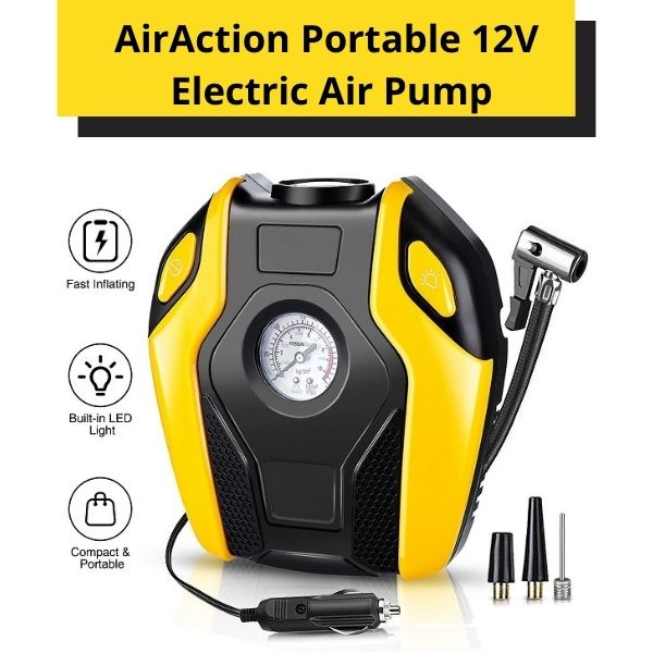 AirAction Portable 12V Electric Air Pump For Cars, Bikes & Camping