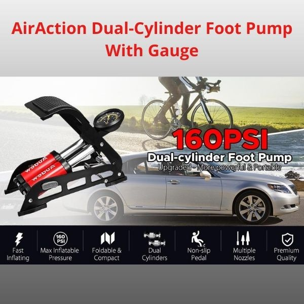 AirAction Dual-Cylinder Foot Pump With Gauge For Bicycles and Cars