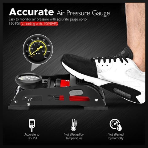 AirAction™ Dual-Cylinder Foot Pump With Gauge For Bicycles and Cars