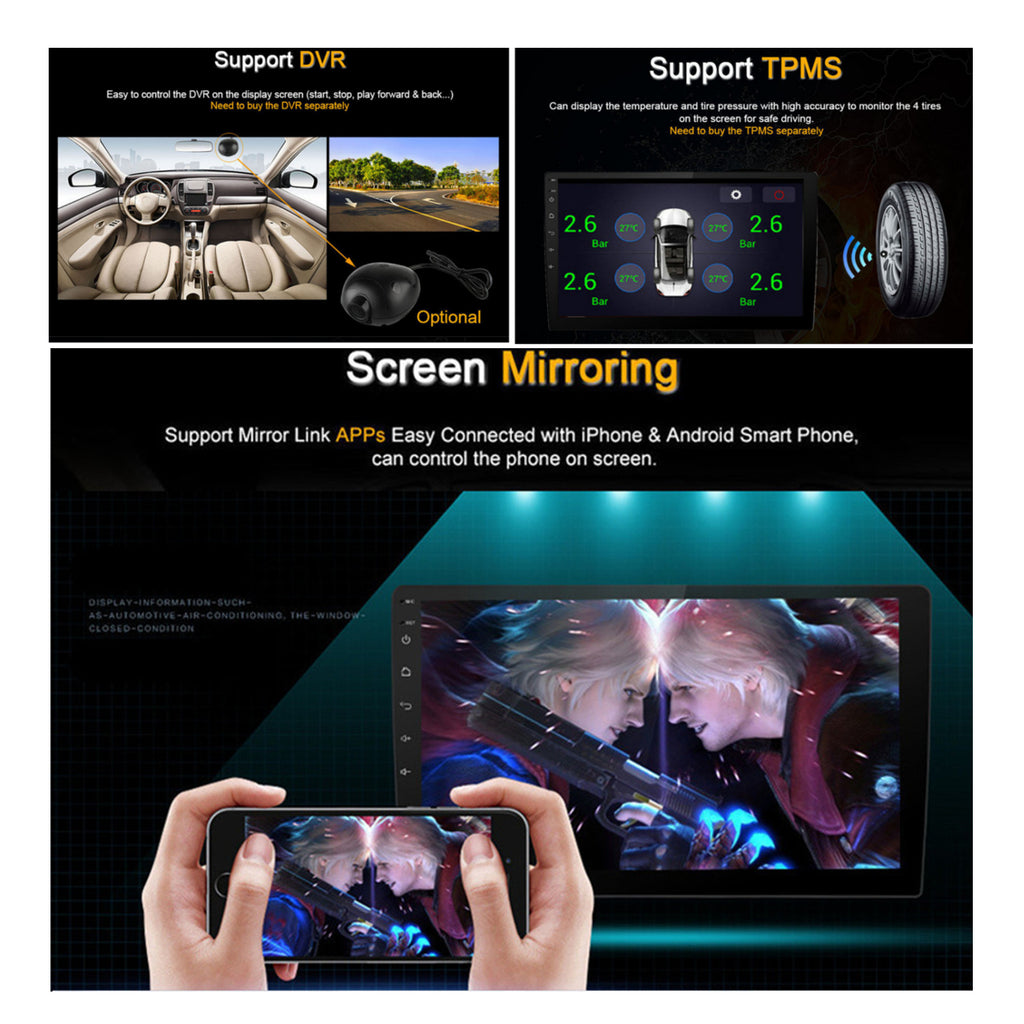 AutoVX™ Android 8.1 Car Stereo With 10.1 Inch Touch Screen