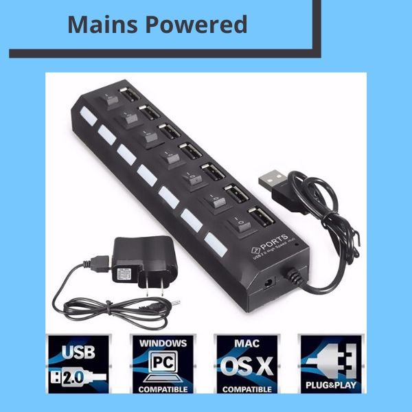 Tplay 7- Port High Speed Powered USB 2.0 Hub