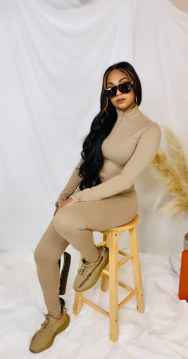 Bodycon Jumpsuit (Taupe)